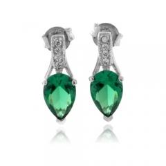 Pear Cut Emerald Silver Earrings