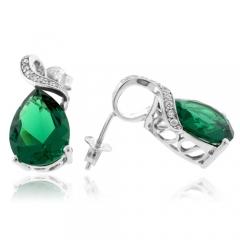 Pear Cut Emerald Sterling Silver Earrings