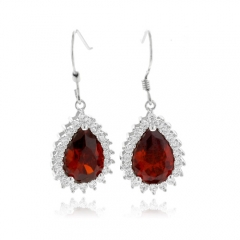 Pear Cut Fire Opal Earrings