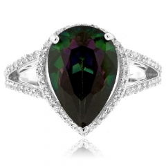 Pear Cut Rainbow Mystic Topaz Silver Ring