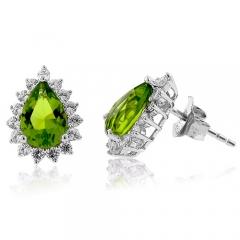 Pear Cut Stone Peridot Earrings
