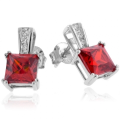 Princess Cut Fire Opal Sterling Silver Earrings