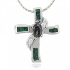 Opal and Mystic Topaz Silver Cross Pendant