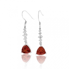 Silver Drop Earrings Trillion Cut Fire Opal