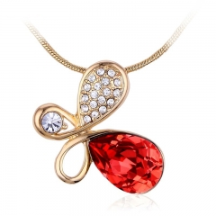 Swarovski Elements Red Butterfly 18K Yellow Gold Plated Necklace