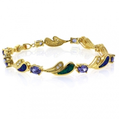 Tanzanite Opal Silver Gold Plated Bracelet