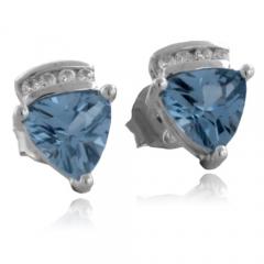 Trillion Cut Aquamarine Silver Earrings
