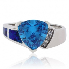 Trillion Cut Blue Topaz Silver Ring with Blue Opal