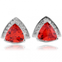 Trillion Cut Fire Cherry Opal Silver Earrings
