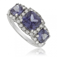 3 Square-Cut Tanzanite Sterling Silver Ring