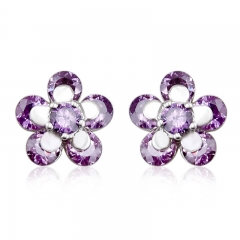 Beautiful Purple Flower Swarovski Crystal Earrings