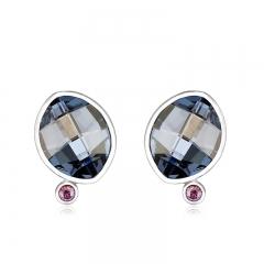 Blue Sterling Silver Swarovski Crystal Earrings