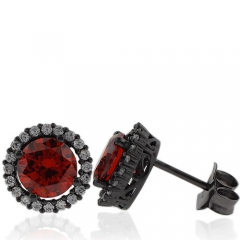 Amazing Round Cut Fire Opal Earrings with Simulated Diamonds and Oxidized Silver