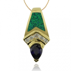 Precious Gold Plated Pendant with Drop Cut Tanzanite and Australian Opal