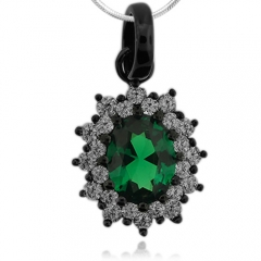 Oxidized Silver and Oval Cut Emerald Pendant
