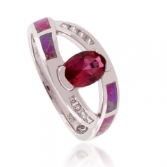 Pink Australian Opal and Ruby Ring