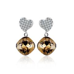 Swarovski Crystals Earrings Smoky Color