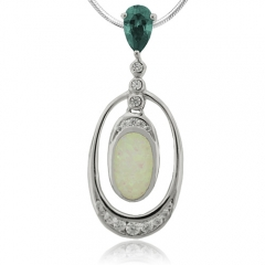 Amazing White Opal and Color Change Alexandrite Pendant