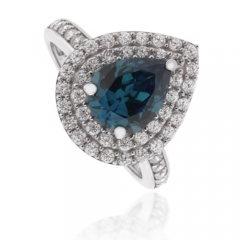 Pear Cut Alexandrite ( Blue/Green ) Silver Ring
