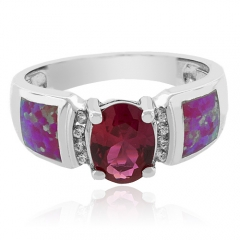 Oval-Cut Lab-Created Opal and Ruby Ring in Sterling Silver