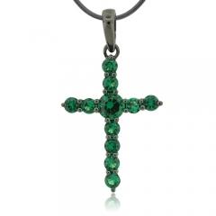 Emerald Black Silver Cross Pendant