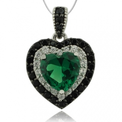Hearth Shape Emerald and Silver Pendant With Simulated Diamonds