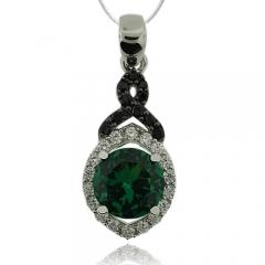 Precious Round Cut Emerald Pendant With Simulated Diamonds