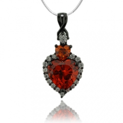 Heart Shape Fire Opal Pendant With Simuated Diamonds and Oxidized Silver