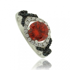 Precious Round Cut Fire Opal Ring With Simulated Diamonds