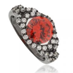 Round-Cut Cherry Opal Black Silver Ring
