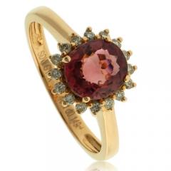 Genuine Rubellite 18K Yellow Gold Ring
