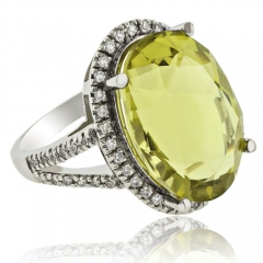 Huge Natural Yellow Citrine 14K White Gold Ring