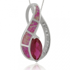 Pink Opal Pendant with Ruby