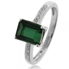 Natural Mined Green Tourmaline Diamonds 14K White Gold Ring