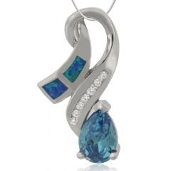 Pendant with Blue Topaz Blue Opal in Sterling Silver