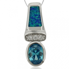 Swiss Blue Topaz and Opal Silver Pendant