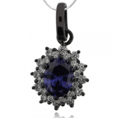 Gorgeous Oval Cut Tanzanite & Black Silver Pendant With Zirconia
