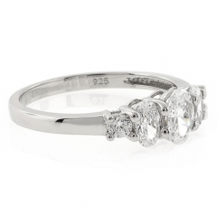 3 Oval Cut Simulated Diamond Engagement Ring