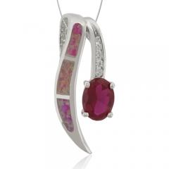 Australian Opal Pendant with Ruby