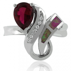 October Birthstone Pear-Cut Opal and Ruby Ring in Sterling Silver