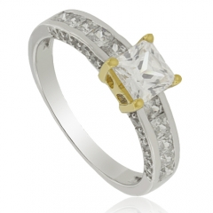 Princess Cut Promise Silver Ring