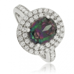 Oval-Cut Mystic Topaz .925 Silver Ring