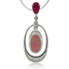 Amazing Pink Opal and Red Ruby Pendant