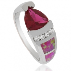 Amazing Pink Opal and Ruby Silver Ring