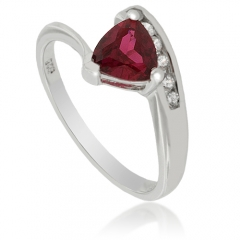 Solitaire Red Ruby Sterling Silver Ring
