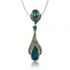 Wonderful Sterling Silver and Drop Cut Topaz Pendant With Simulated Diamond