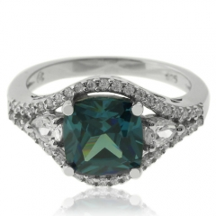 Elegant Sterling Silver Ring With Alexandrite Gemstone and Simulated Diamonds