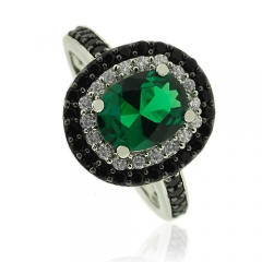 Sterling Silver Ring with Oval Cut Emerald With Simulated Diamonds