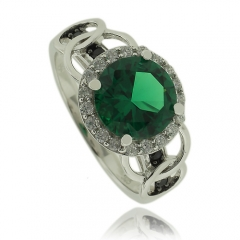 Precious Sterling Silver Ring with Round Cut Emerald and Simulated Diamonds