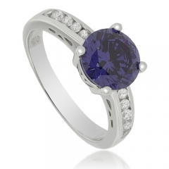 Round-Cut Tanzanite Sterling Silver Ring